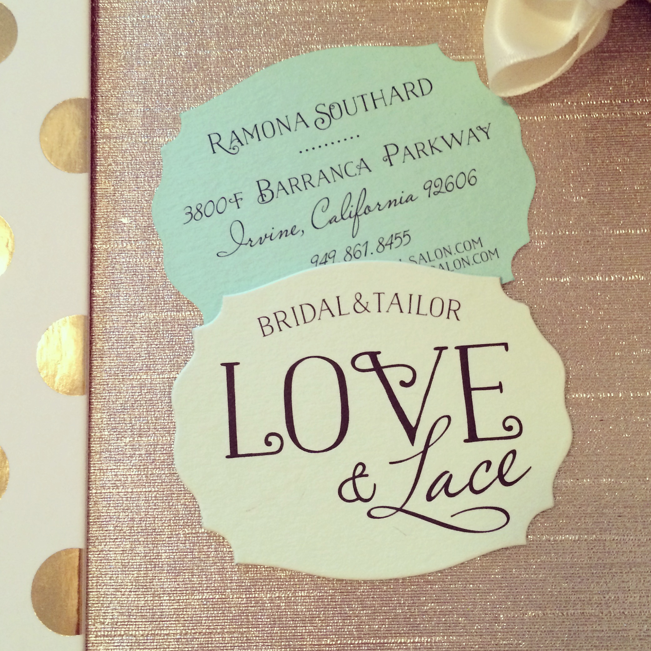 LOVE & LACE BRIDAL BUSINESS CARDS   Mintwich Creative